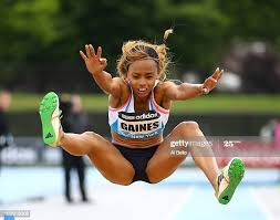 Jessie Gaines of the USA leaps during the Long Jump at the Adidas ...