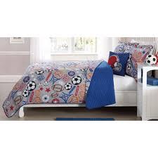laura hart kids sports express circles blue queen quilt mini set with bonus decorative pillow