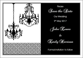 black and white chandeliers save the date card larger image
