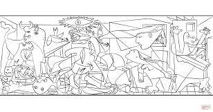 Guernica Door Pablo Picasso Kleurplaat Gratis Kleurplaten Printen