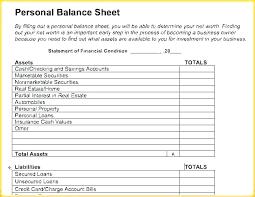 Simple Personal Balance Sheet Example Balance Sheet Template