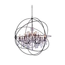 foucault s orb 18 light 46 dark bronze iron large orb crystal chandelier