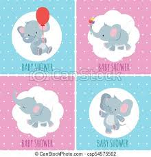 Baby Shower Invitation Cards Baby Shower Invitation Cards With Cute Cartoon Elephants Vector Set