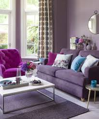 dusty purple living room plum wall accent color grey area rug white marble coffee table fuchsia linen fiber accent chair plum polyester love seat sofa round