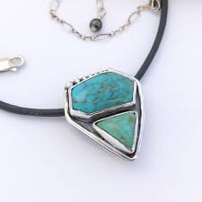 dual stone turquoise necklace sterling silver contemporary pendant images of