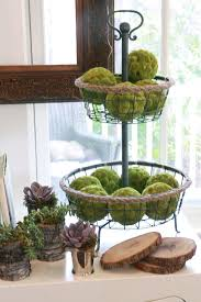 Decorating With Moss Balls Moss Balls in Tiered Wire Basket with Succulents in Tree Bark 10