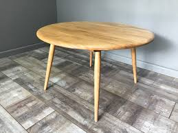 nice retro ercol coffee table round vintage light elm blonde side