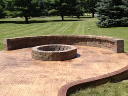 stamped concrete patio with fireplace. Stamped Concrete Patio With Fire Pit And Sitting Wall, Clarskon, Mi. Fireplace E