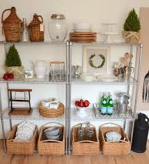 Rattan Kitchen Furniture Stainless Steel Kitchen Wire Shelving Units With Rattan Basket