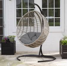 Island Bay Resin Wicker Kambree Rib Hanging Egg Chair With Cushion  Within  Wicker Swing Chair