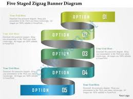 power points template 0115 five staged zigzag banner diagram powerpoint template peer
