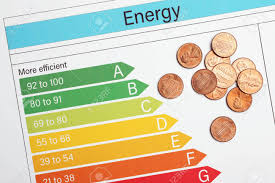 Coins On Energy Efficiency Rating Chart Top View