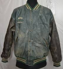 roots men s varsity leather jacket with hand painted on back made in canada v 60 1 7 kg