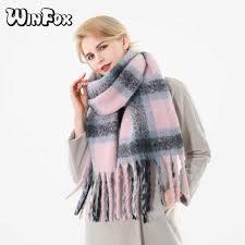 <b>Winfox 2018 New</b> Brand Winter Pink Grey Warm Tartan Plaid ...