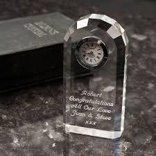 engraved crystal clock
