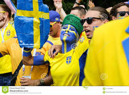 Swedish Fans Parade. People Singing And Dancing. Editorial Photography -  Image of scandinavian, fifa: 121120057