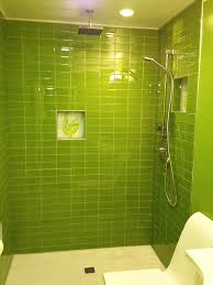 ... Lush Lemongrass 3x6 Green Glass Subway Tile Shower Installation ...