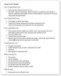 Sample Event Checklist | Fresharts.org