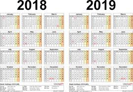 excel 2018 yearly calendar two year calendars for 2018 2019 uk excel incredible calendar