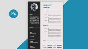 CV/Resume template Design tutorial with Photoshop free PSD+DOCS+PDF