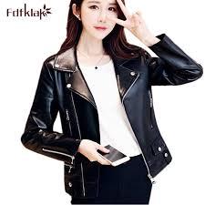 2019 fdfklak plus size autumn winter biker jacket women faux leather jacket black motorcycle leather jackets pu female coat s 4xl from qingxin13