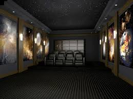 home theater acoustic panels. home theater featuring universal space theme images printed on acoustic panels. panels