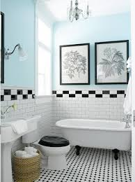 bathroom tiles black and white. Modren Black Vintage Style Bathroom With Black U0026 White Tile Claw Foot Tub Pedestal  Sink And Turquoise Wall Pretty Mix By Sherrie To Bathroom Tiles Black And White