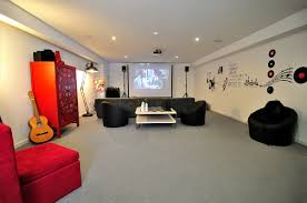 Home Interiors:Cool Basement For Game Room With Creamy Rug And Hanging Lamp  Ideas Black