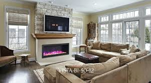 50 electric fireplace deep indoor or outdoor built in only with a black steel surround touchstone