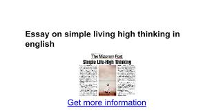 essay on simple living high thinking in english google docs