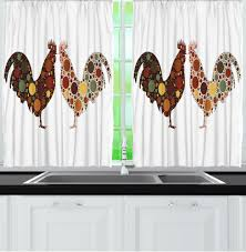 Farm Animal Kitchen Decor Similiar Country Rooster Kitchen Curtains Keywords