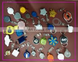 big face plastic badge reel with a small key ring