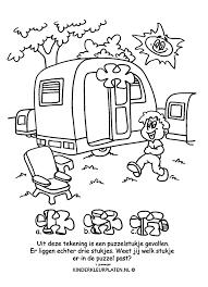 Kleurplaat Caravan Camping Spelletjes