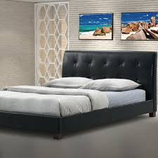 baxton studio hauten transitional black faux leather upholstered queen size bed 28862 4630 hd the home depot