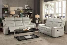 larkin light gray leather recliner sofa set jpg