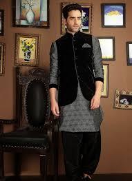 Mens Koti Design Silver Sharwani With Black Designer Koti 40654 Wedding