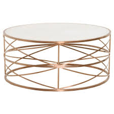 bella antique melrose round coffee table made with concrete metal in white and brushed rose