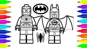 Lego Spiderman And Lego Batman Coloring Pages For Kids To Learning