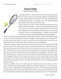 Tennis Time - Reading Comprehension Worksheet