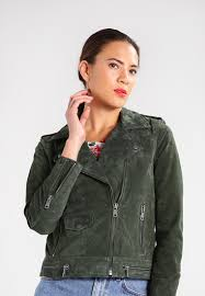 selected femme sflore leather jacket forest night women clothing jackets dark green