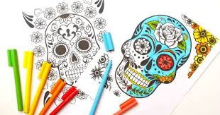 Small Picture Day of the Dead Coloring Pages for Grown Ups Kids