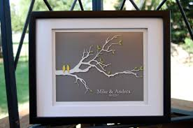 wedding gifts first anniversary gift paper love birds bridal shower gift gifts for couples gift for wife 8 x10 yellow gray