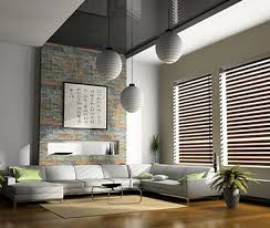 Modern Living Room In Large Size With Horizontal Venetian Wooden Blinds  Ideas In Laminate Wood Flooring