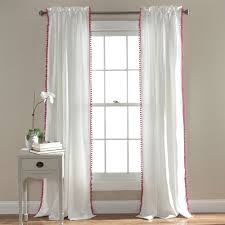 triangle home fashions lush decor pom pom window curtain panel pink