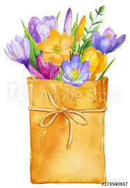 How To Wrap Flower Bouquet In Paper Flower Bouquet In Paper Wrap Painted In Watercolor Buy