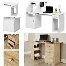 white desk home office. Brilliant Office Computer Desk Home Office Table Workstation Furniture Drawers Shelves Oak  White On