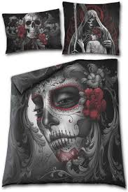 spiral gothic skull roses single duvet cover uk and eu pillowcases reverse side view