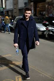 wear a blue pea coat and navy suit pants like a true gent break up