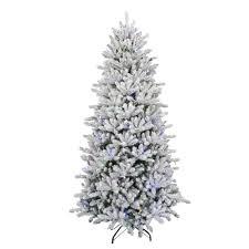 Flocked Christmas Tree 75 Ft Pre Lit Led Flocked Balsam Wrgb Artificial Christmas Tree