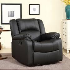 belleze swivel glider faux leather rocker recliner chair overstuffed armrest backrest black